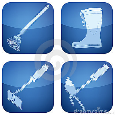 Cobalt Square 2D Icons Set: Garden Tools