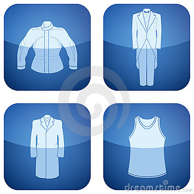 Cobalt Square 2D Icons Set: Man s Clothing