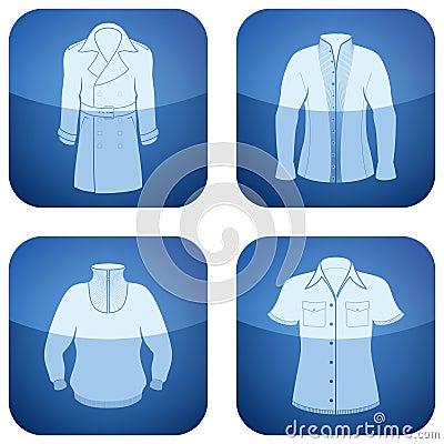 Cobalt Square 2D Icons Set: Man s Clothing