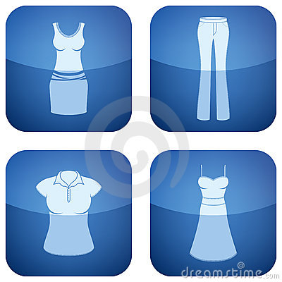 Cobalt Square 2D Icons Set: Woman s Clothing