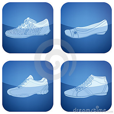 Cobalt Square 2D Icons Set: Woman s Shoes