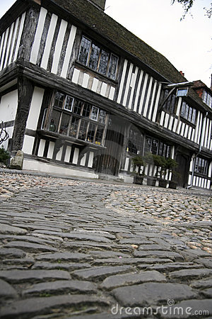 Cobbled street tudor house historic rye uk