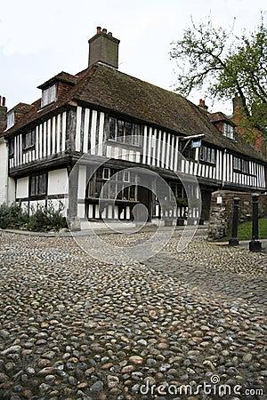 Cobbled street tudor house rye england