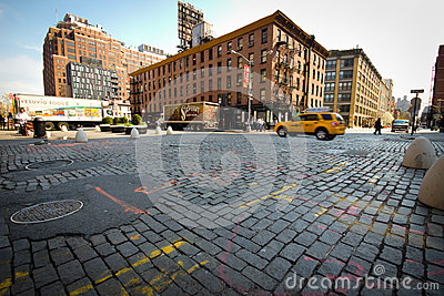Cobblestone Old NYC Editorial Stock Image