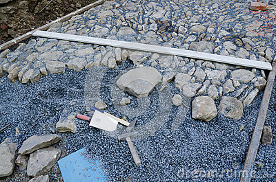 Cobblestone pavement installation