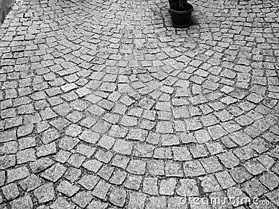 A cobblestone road