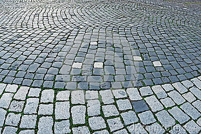Cobblestone sidewalk made of cubic stones 2