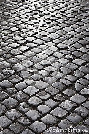 Cobblestone street in Rome, Italy.