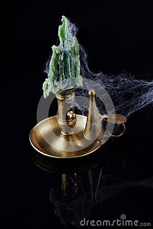 Cobweb covered Candlestick