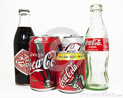 Coca Cola Bottles and Cans Editorial Image