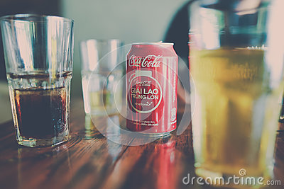 Coca Cola Can Beside Clear Drinking Glass With Black Liquid Free Public Domain Cc0 Image