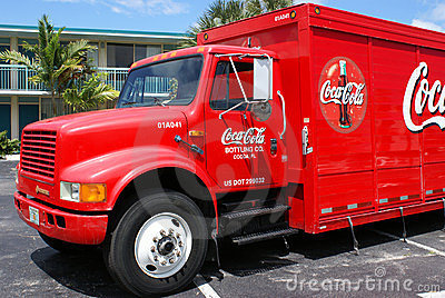 Coca-Cola delivery truck at Holiday Inn Editorial Photography