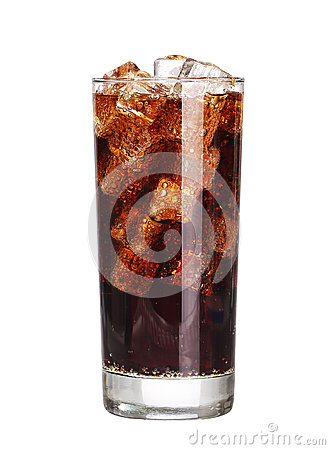 Free Coca Cola Drink Glass With Ice Cubes Isolated On White Royalty Free Stock Images - 57156819