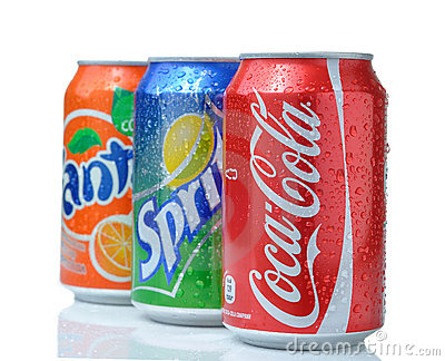 Coca cola, fanta, sprite cans Editorial Stock Image