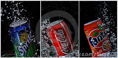 Coca cola, fanta, sprite cans under water Editorial Photography