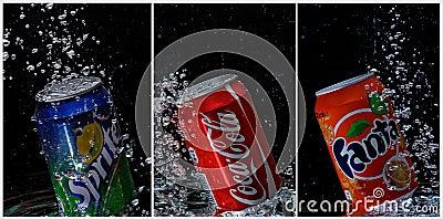 Coca cola, fanta, sprite cans under water Editorial Photography