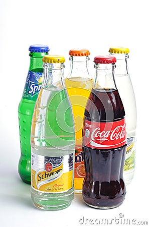 Coca cola, fanta, sprite, shweppes Editorial Stock Image