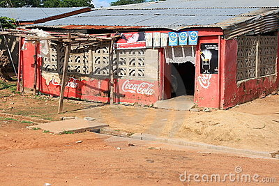 Coca Cola oasis on the dry African Sahel Editorial Stock Image