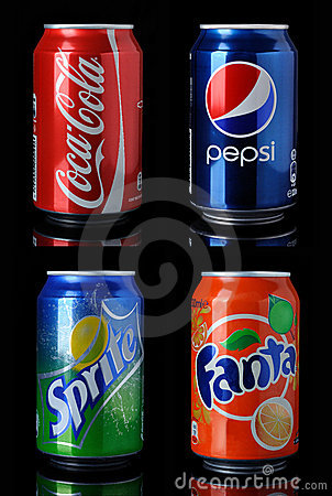 Coca cola,pepsi, fanta, sprite cans Editorial Image