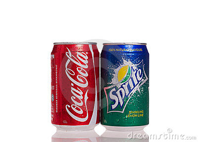 Coca cola and sprite cans Editorial Photo