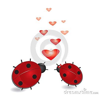 Coccinelle avec des coeurs, fond abstrait de valentines. Vecteur ENV ...