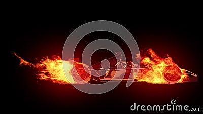 Coche de carreras del fuego almacen de video