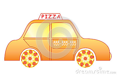Coche de entrega de la pizza