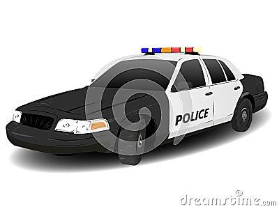 Coche patrulla blanco y negro de la policía