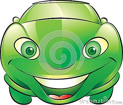 Coche verde feliz