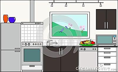 Cocina con las guarniciones