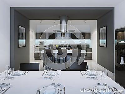 Cocina de lujo con la isla del estilo de la barra foto de archivo ...