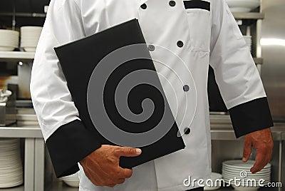 Cocinero con el menú