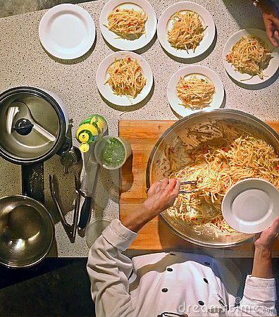Cocinero de la clase de cocinar