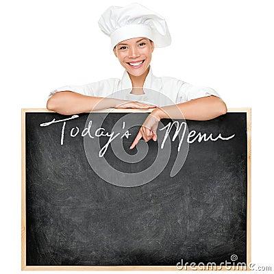Cocinero de la muestra del menú