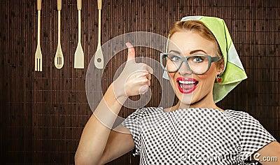 Cocinero divertido de la mujer