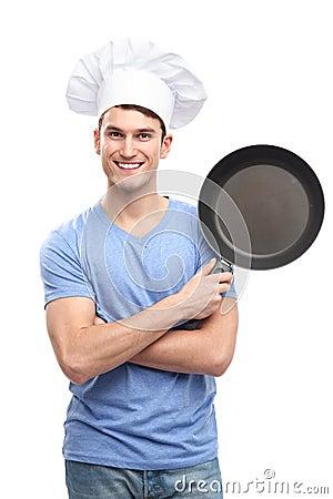 Cocinero que sostiene el sartén