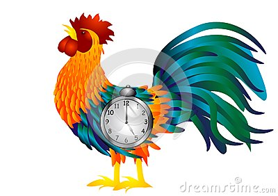 Cock with alarm clock