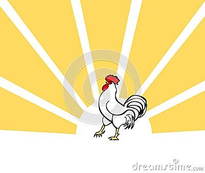 Cock, vector bird card