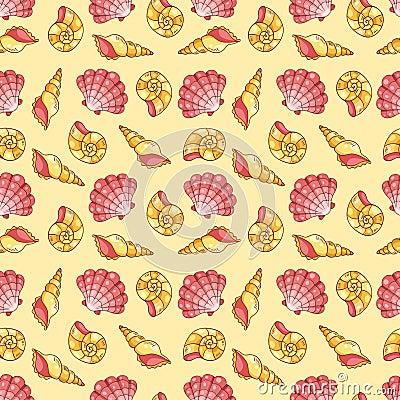 Cockleshells seamless pattern