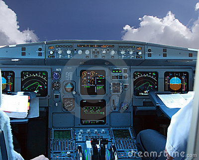 COCKPIT IN AIRLINER