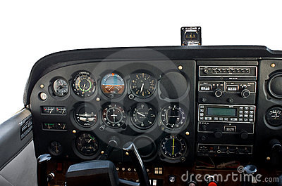 Cockpit of light airplane.