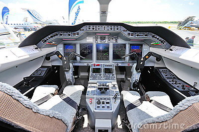 Cockpit of a plane at Singapore Airshow 2010 Editorial Stock Photo