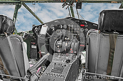Cockpit of World War II Era Military Transport