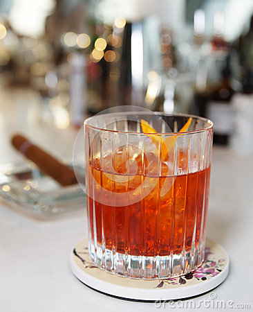Cocktail on bar counter