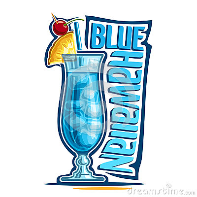 Cocktail Blue Hawaiian Vector Illustration