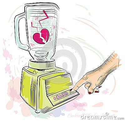 Cocktail broken heart. Vector illustration. Vector Illustration