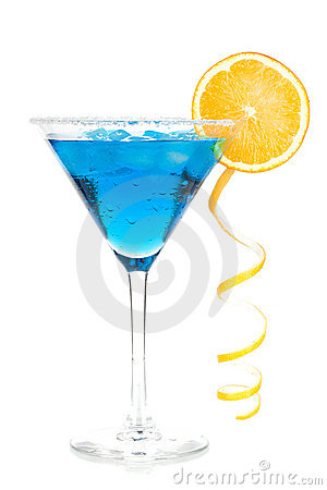 Free Cocktail Collection - Blue Martini With Lemon Spir Stock Photo - 13510970