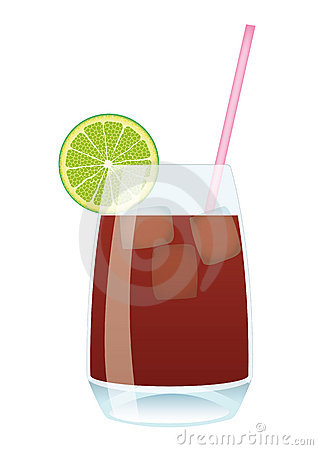 Cocktail Cuba Libre - Cola and Rum with Lime