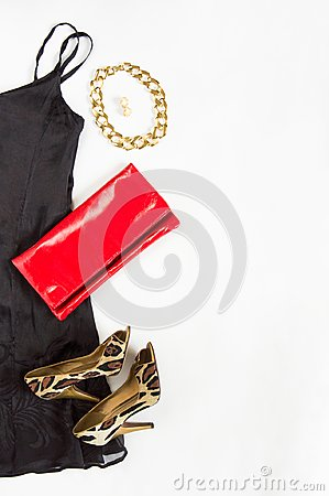 Free Cocktail Dress Outfit, Night Out Look On White Background. Little Black Dress, Red Clutch, Leopard Shoes, Gold Necklace And Earrin Stock Photos - 103383073