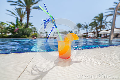 Cocktail at the edge of pool
